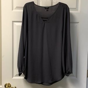 TORRID SLATE GREY BLOUSE WITH KEYHOLE FRONT